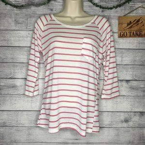 Forever 21 Striped 3/4 Sleeve Top Size M